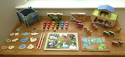 £30 • Buy Wooden Toy Bundle Age 2-3+ Noah's Ark, Puzzles, Etc - Two / Three Year Old