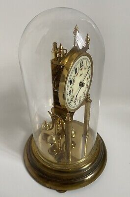 £85 • Buy Large Anniversary Clock Kienninger & Obergfell Under Glass Dome Made In Germany
