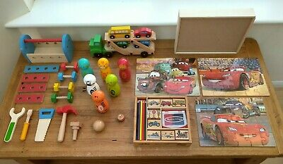 £30 • Buy Wooden Toy Bundle Age 3 / 4 + Tool Kit, Stamps, Puzzles Etc Three/four Year Old