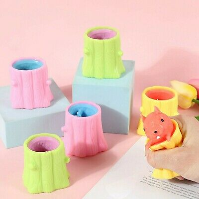 AU7.39 • Buy Stress Toys Squeeze Cute Tree Squirrel Cup Rubber Fidget Stump Kids Gift Squishy