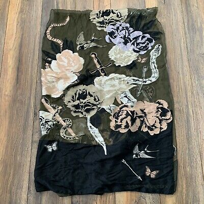 AU459.34 • Buy ALEXANDER MCQUEEN Floral Snake Skull Print Silk Embroidered Scarf Thorn In Heart