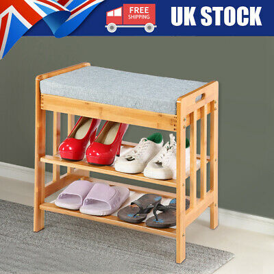 £36.73 • Buy Shoe Bench Shoes Storage Rack Wooden Cabinet With Padded Seat Cushion Hallway