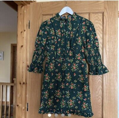 £40 • Buy Urban Outfitters X Laura Ashley Maisy Mock Neck Green Floral Dress Size M