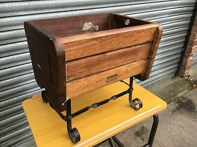 £25 • Buy  Iroko Wood Planter Box African Wood On Wrought Iron Stand By Branson Of Devizes