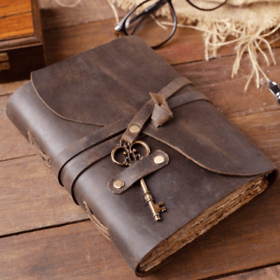 AU36 • Buy Hand Stitched Leather Journal | 240 Vintage Paper Sheet | Brown Journal With Key
