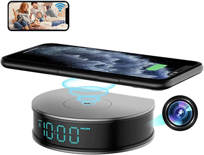 AU361.80 • Buy Alarm Clock Fast Wireless Charger Video Nanny Camera 1080P Night Vision DVR Cam