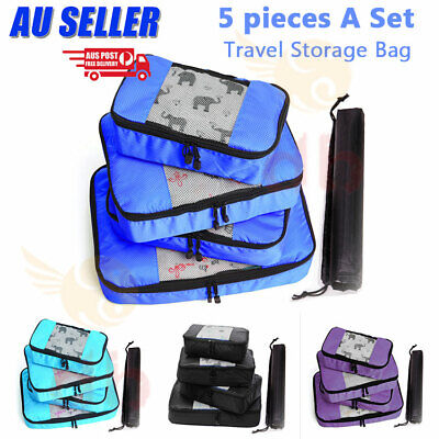 AU15.99 • Buy 5Pcs Packing Cubes Travel Pouch Luggage Organiser Clothes Suitcase Storage Bags