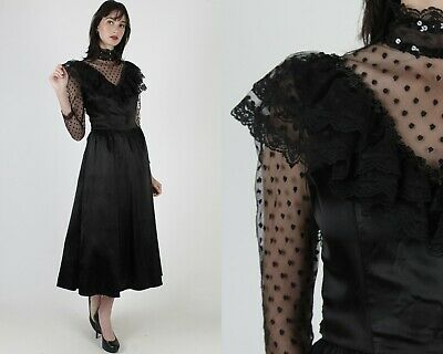 £224.24 • Buy Vintage 70s Gunne Sax Dress Black Gothic Sheer Lace Bridal Party Prom Gown Maxi