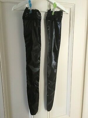 £4 • Buy Leather Look PVC Stockings With Lace Tops Black Bondage BDSD Wet Look