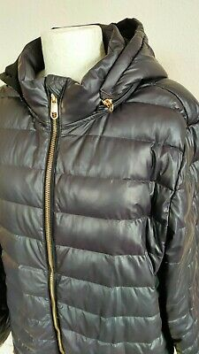 £8 • Buy Steve Madden Black Quilted Jacket Faux Leather Panel Side Hood Gold Zip Coat XL