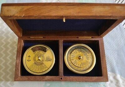 £19.99 • Buy Perpetual Desk Timer & Calendar Solid Brass Dial 100 Years 2000-2099 Wooden Box.