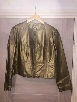 £25 • Buy Gold Leather Jacket, M&S, BNWT, Size 16/14, Cropped