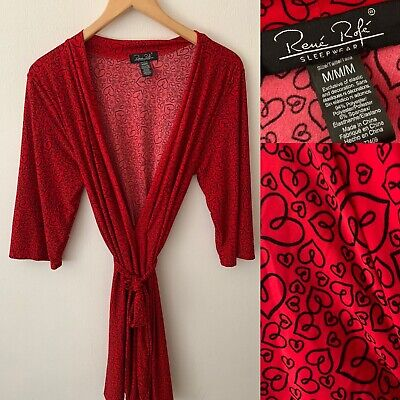 AU23.89 • Buy Ladies RENE ROFE Short Red Black Hearts Dressing Gown Robe Size M