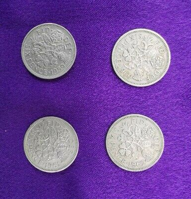 £0.99 • Buy Sixpence Coins 1959 1960 1961 1962