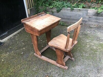 £20 • Buy Antique Old Childrens School Desk Attached Sliding Chair Playroom Storage