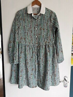 £5.99 • Buy Clobee Pale Blue Needlecord Dress M Lovebirds Bamboo Button Front Collar NWT