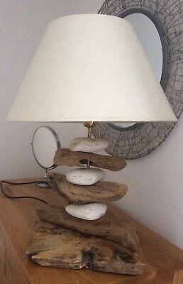£30 • Buy Pebble & Driftwood Table Lamp With Shade Holiday Home/beach Theme