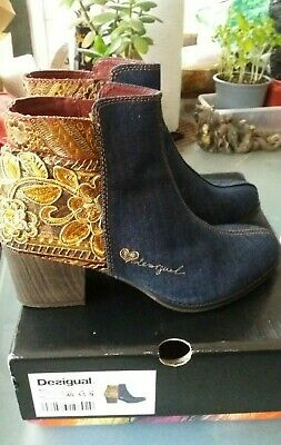 £29.95 • Buy DESIGUAL Gold Embroidered Blue Denim Hippie Ankle Boots Size 6.5 / 40