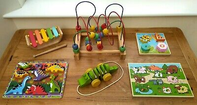 £30 • Buy Wooden Toy Bundle Age 1 / 2 + One / Two Year Old - Bead Maze, Puzzles, Etc