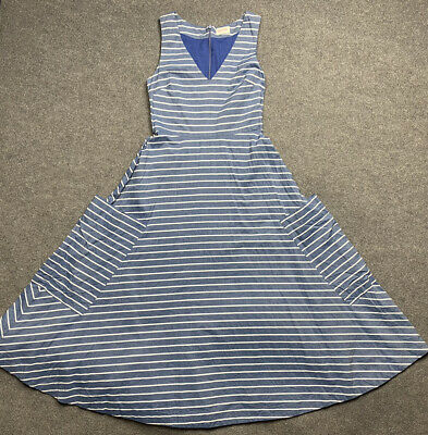 AU59.95 • Buy Gorman Dress Womens 6 Extra Fit And Flare Lined Blue Striped Pockets Adult