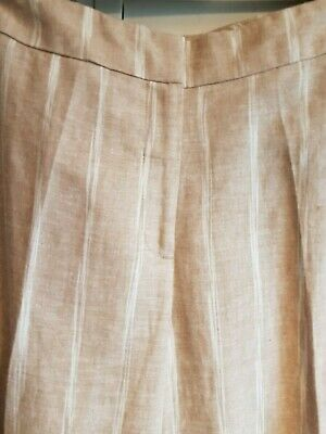 £3.40 • Buy Marks And Spencer Trouser. Linen Mix Beige With Cream Stripe Size 18