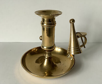 """£4 • Buy Vintage Brass Candle Holder, Ejector And Snuffer C.4"""" Tall, 5""""Diameter - 293g"""