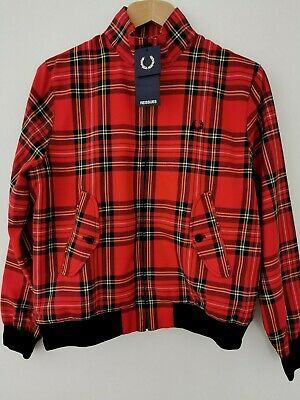 £190 • Buy BNWT Fred Perry Red Tartan Harrington Jacket Size UK 14 * NEW * Made In England