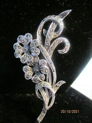 £4 • Buy Lovely Vintage Costume Silver Tone Marcasite Brooch Pin 2 Flowers