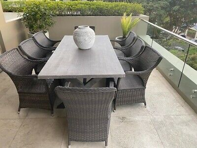 AU1995 • Buy Outdoor Furniture Crete Cement Dining Table And 8 Wicker Chairs MUST SELL