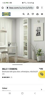 AU80 • Buy Ikea Billy Bookcases With Extension And Glass Doors 237cm X 40cm X36cm