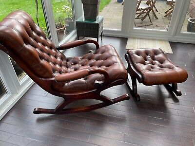 £450 • Buy Vintage Leather Chesterfield Slipper Rocking Chair And Stool Made By Wade