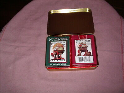 £4.99 • Buy Tin Two Packs Norman Rockwell Christmas Playing Cards