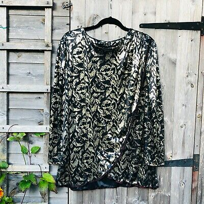 £14.99 • Buy Vintage Glamour Top 1980's Shiny Silver Leaf Pattern Size 20 / 22 Long Sleeves