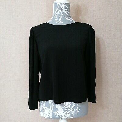 AU12.87 • Buy Bershka Ladies Blouse Top Size S Black  Long Sleeves Plain Buttons On The Back