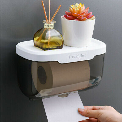 AU13.32 • Buy Toilet Paper Holder Wall Mounted Punch Free Paper Dispenser Clear Storage Box AU