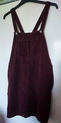 £9.99 • Buy Topshop Moto Burgundy Cord Pinafore Dress With Pockets Size 12