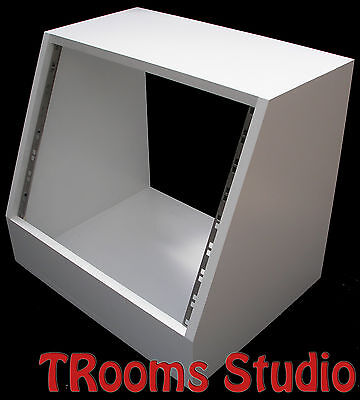 8u UNIT 19  INCH ANGLED RACK CABINET  RECORDING STUDIO FURNITURE IN WHITE PRIMER • 47.99£