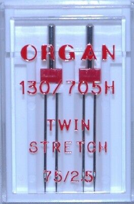 Organ Sewing Machine Needles- Twin Stretch- Size 75/2.5 ( Pkt Of 2) -   BLB83 • 5.20£