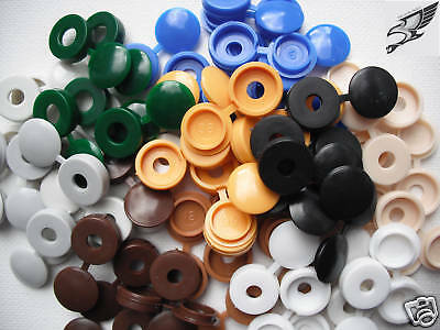 £4.59 • Buy 100 X MIXED COLOUR SMALL HINGED SCREW HEAD COVER CAPS FOR SIZE 6g - 8g SCREWS *