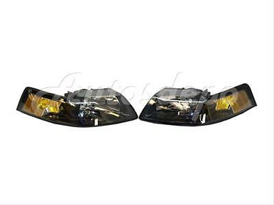 $83.15 • Buy For 01-04 03 02 FORD MUSTANG HEADLAMP HEADLIGHT BLK SET 2