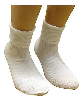 6 Pairs Girls Turn Over Top White Ankle Socks * All Sizes Available* Uk Made • 4.75£