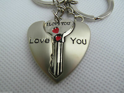 £2.95 • Buy Lovers Couples I Love You Set Of Twin Keyrings Heart And Key Jigsaw Gift Idea Uk