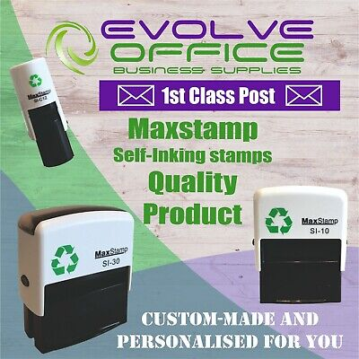 Customised Name And Address Self Inking Rubber Stamp TEXT & LOGOS • 9.65£
