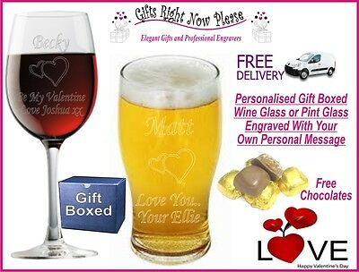 Engraved Valentines Wine/ Pint Glass Personalised Romantic Husband Gift Present • 12.99£