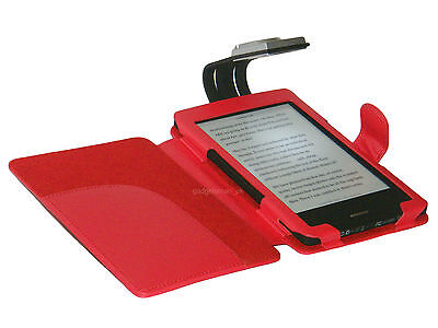 Red Case Cover And Light For Kobo Touch Ereader - With Led Night Reading Lamp • 10.95£