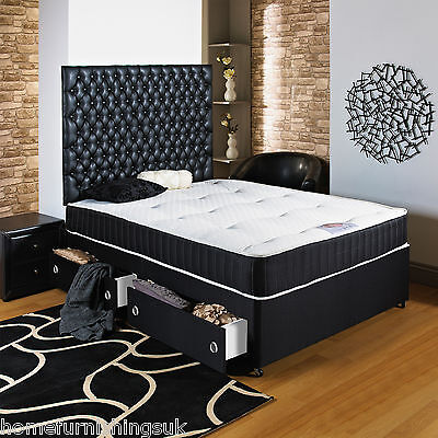 5ft King Size Black Divan Bed+ortho Mattress+headboard+drawers  • 219.99£