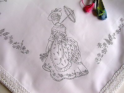 Tablecloth Print To Embroider Lady & Parasol Lace Edge Cotton Table Cloth CSOOO3 • 18£
