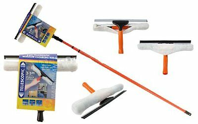 3.5m Telescopic Conservatory Window Glass Cleaning Cleaner Kit With Squeegee New • 14.99£