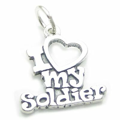 I Love My Soldier Sterling Silver Charm .925 X 1 Armed Forces Charms CF5450 • 10.99£