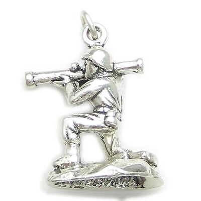 Soldier Holding Rocket Launcher Sterling Silver Charm .925 X 1 Soldiers • 14.99£